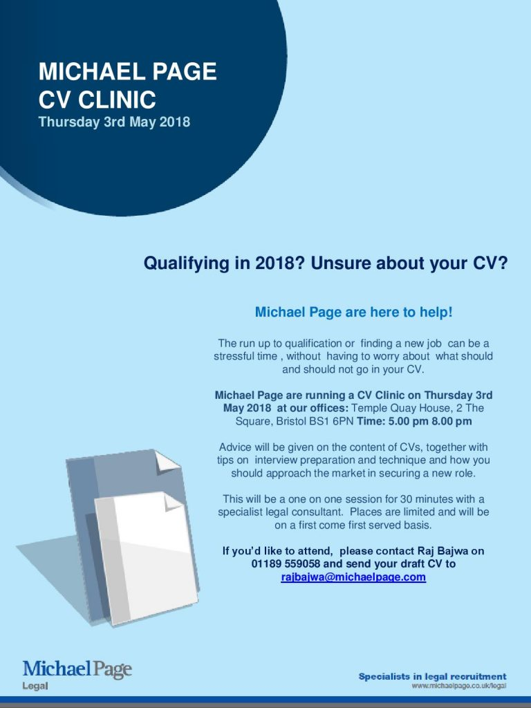 Michael Page CV Clinic with Bristol JLD
